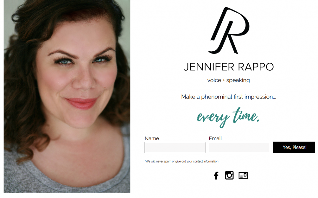 JenniferRappo.com WordPress Landing Page
